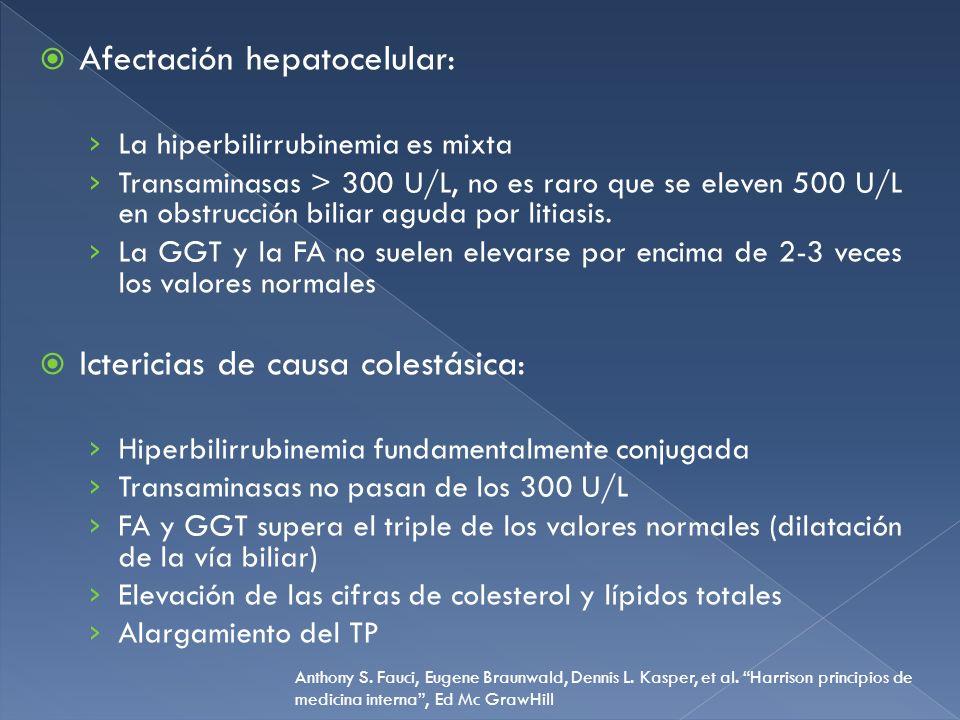 Afectación hepatocelular: La hiperbilirrubinemia es mixta Transaminasas > 300 U/L, no es raro que se eleven 500 U/L en obstrucción biliar aguda por li