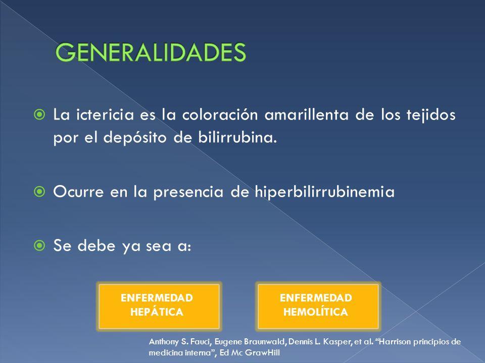 Las concentraciones normales son de 0.4 +- 0.2 mgs/100 ml 95% corresponde a bilirrubina no conjugada Hiperbilirrubinemia Concentración de BT mayor a 1.5 mgs/100 ml BI > 1.0 mgs/100 ml BD > 0.3 mg/100 ml La hiperbilirrubinemia se separa en dos clases: No conjugada + 80% de la BT Conjugada + 30% de la BT Ictericia, Guías diagnósticas de gastroenterología, Hospital General de México