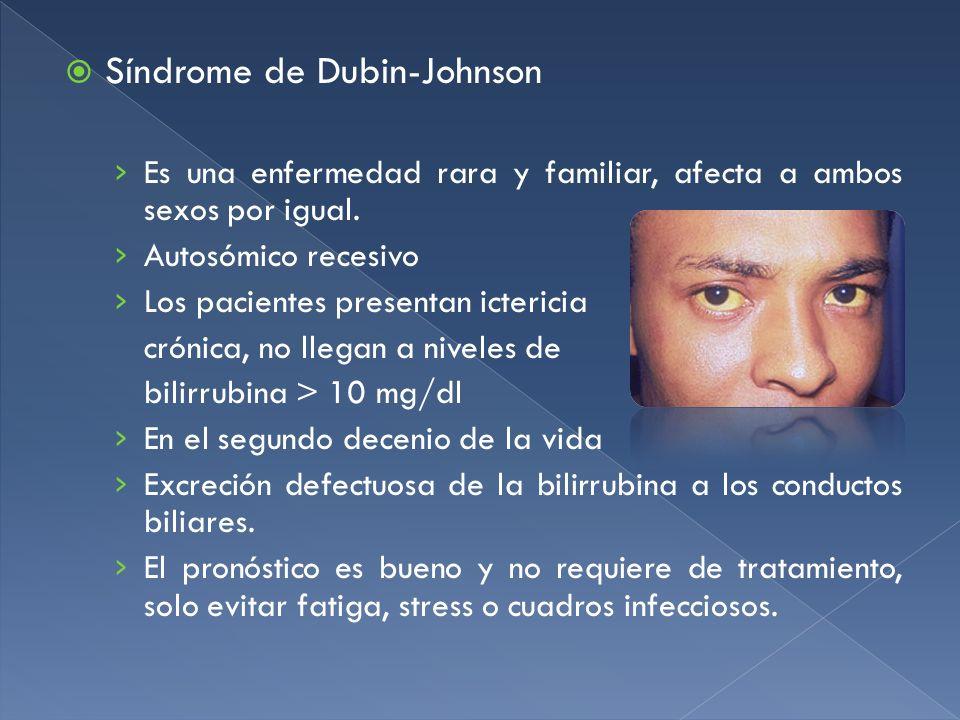 Síndrome de Dubin-Johnson Es una enfermedad rara y familiar, afecta a ambos sexos por igual. Autosómico recesivo Los pacientes presentan ictericia cró
