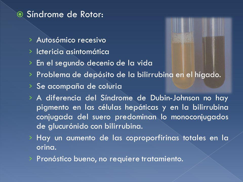 Síndrome de Rotor: Autosómico recesivo Ictericia asintomática En el segundo decenio de la vida Problema de depósito de la bilirrubina en el hígado. Se