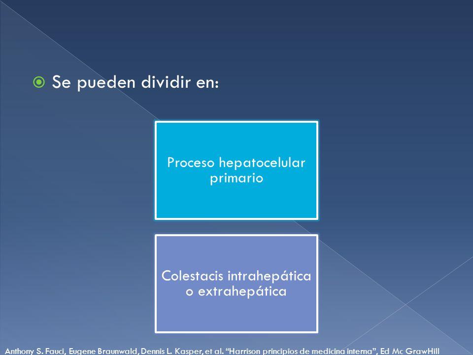 Se pueden dividir en: Proceso hepatocelular primario Colestacis intrahepática o extrahepática Anthony S. Fauci, Eugene Braunwald, Dennis L. Kasper, et