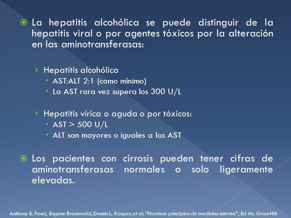 La hepatitis alcohólica se puede distinguir de la hepatitis viral o por agentes tóxicos por la alteración en las aminotransferasas: Hepatitis alcohóli