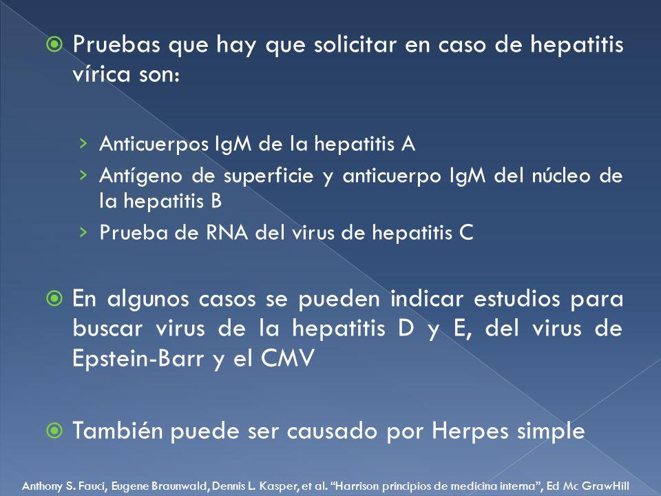 Pruebas que hay que solicitar en caso de hepatitis vírica son: Anticuerpos IgM de la hepatitis A Antígeno de superficie y anticuerpo IgM del núcleo de