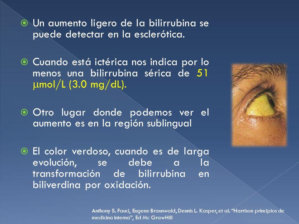 Otro signo sensible del aumento de bilirrubina en suero es el color obscuro de la orina cuando se excreta bilirrubina conjugada La bilirrubinuria indica que la fracción directa de la bilirrubina sérica está elevada hepatopatía.