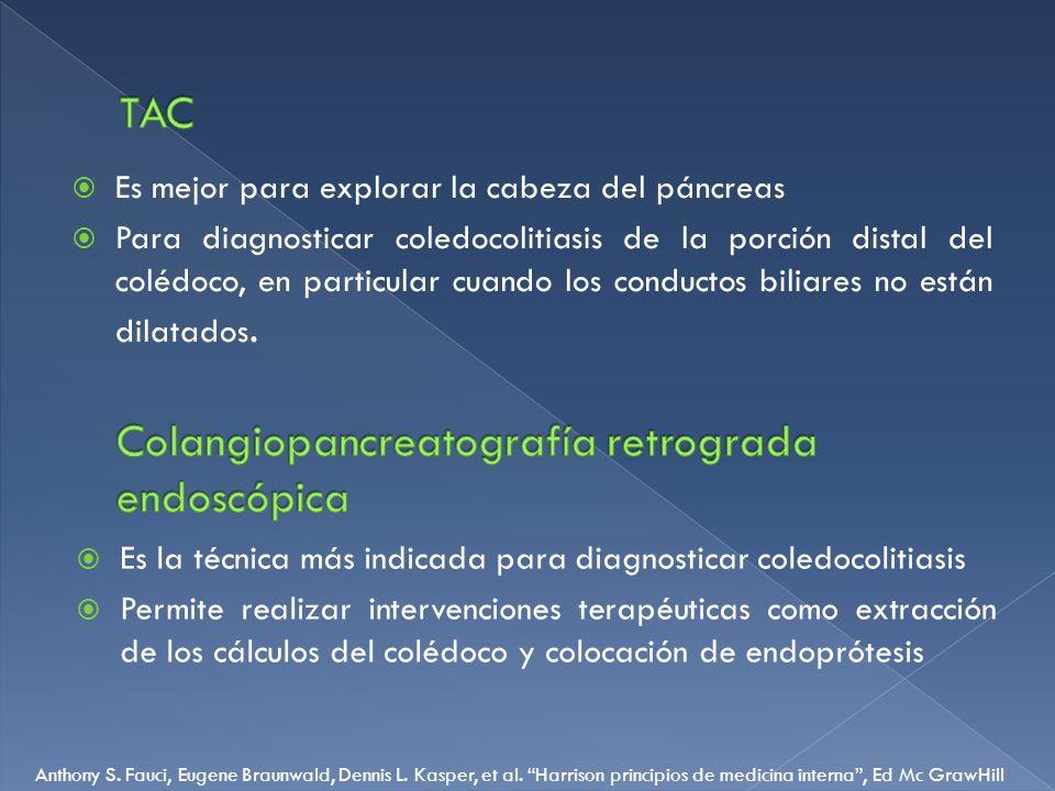 Es mejor para explorar la cabeza del páncreas Para diagnosticar coledocolitiasis de la porción distal del colédoco, en particular cuando los conductos