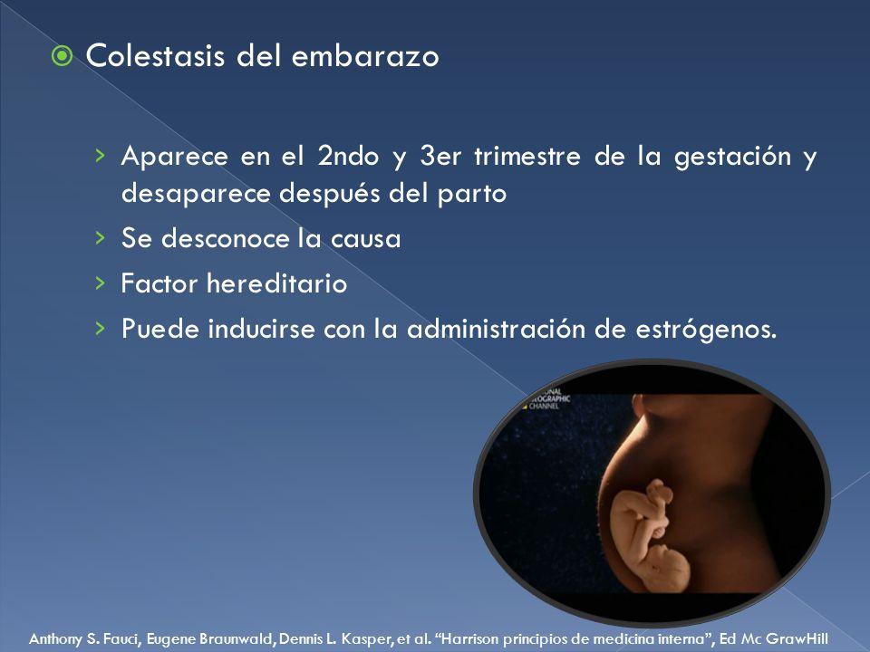 Colestasis del embarazo Aparece en el 2ndo y 3er trimestre de la gestación y desaparece después del parto Se desconoce la causa Factor hereditario Pue