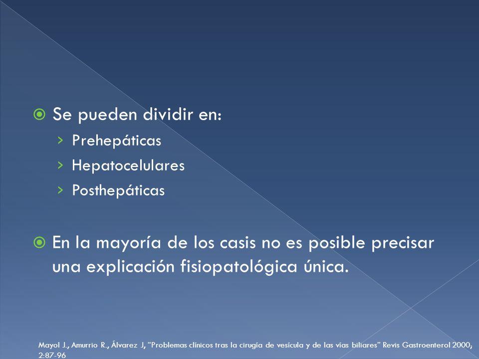 Se pueden dividir en: Prehepáticas Hepatocelulares Posthepáticas En la mayoría de los casis no es posible precisar una explicación fisiopatológica úni