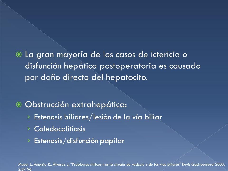 La gran mayoría de los casos de ictericia o disfunción hepática postoperatoria es causado por daño directo del hepatocito. Obstrucción extrahepática: