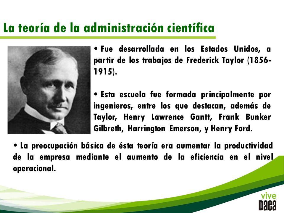 La teoría de la administración científica Fue desarrollada en los Estados Unidos, a partir de los trabajos de Frederick Taylor (1856- 1915).