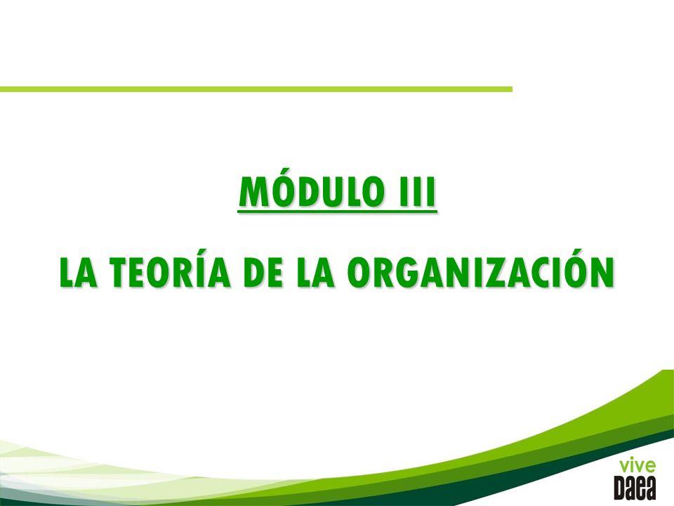 MÓDULO III LA TEORÍA DE LA ORGANIZACIÓN