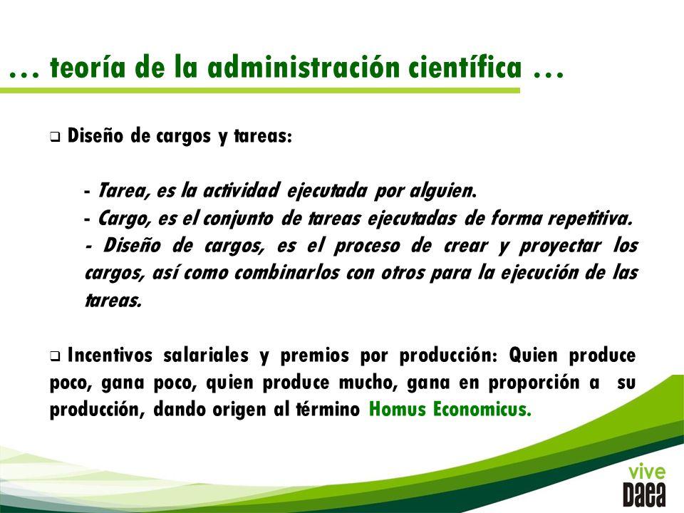 … teoría de la administración científica … Diseño de cargos y tareas: - Tarea, es la actividad ejecutada por alguien.