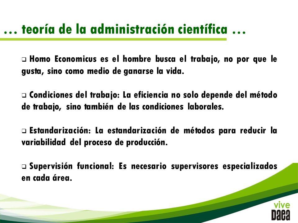 … teoría de la administración científica … Homo Economicus es el hombre busca el trabajo, no por que le gusta, sino como medio de ganarse la vida.