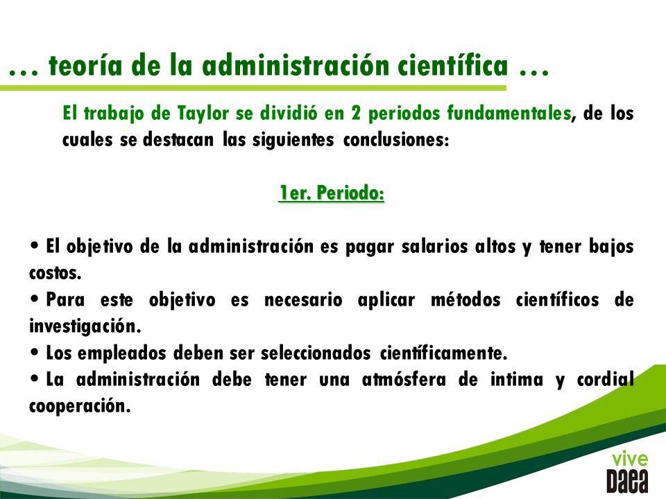 El trabajo de Taylor se dividió en 2 periodos fundamentales, de los cuales se destacan las siguientes conclusiones: 1er.