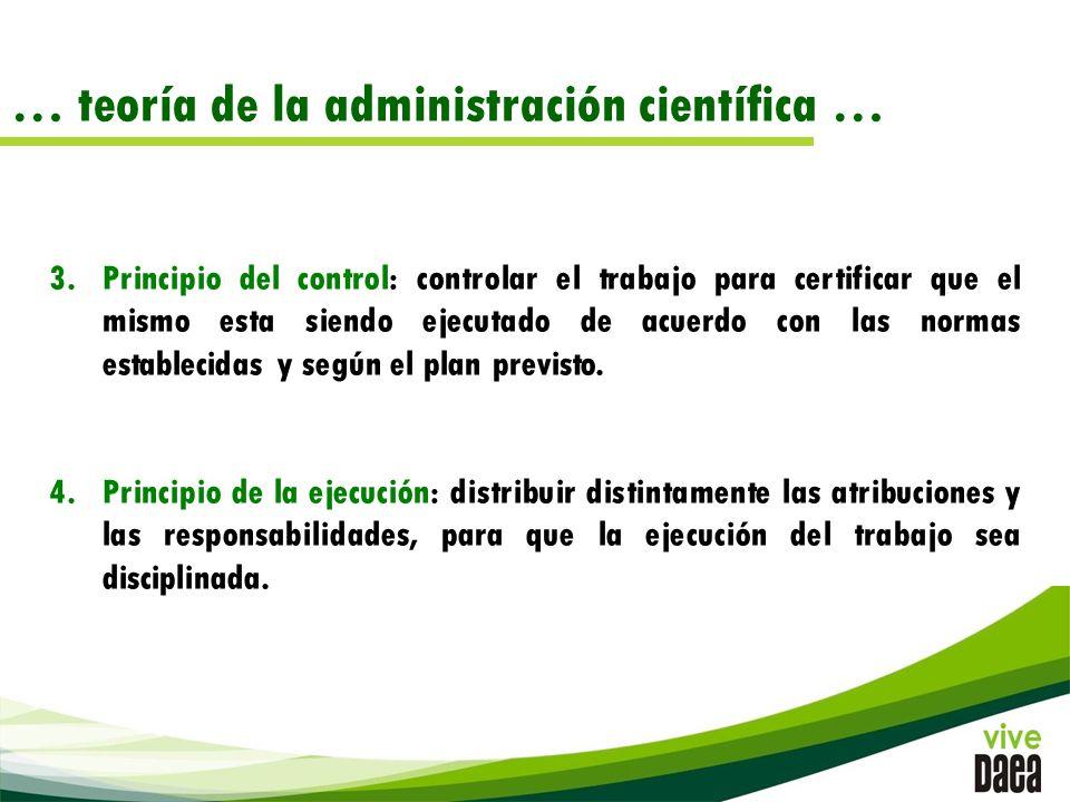 … teoría de la administración científica … 3.Principio del control: controlar el trabajo para certificar que el mismo esta siendo ejecutado de acuerdo con las normas establecidas y según el plan previsto.