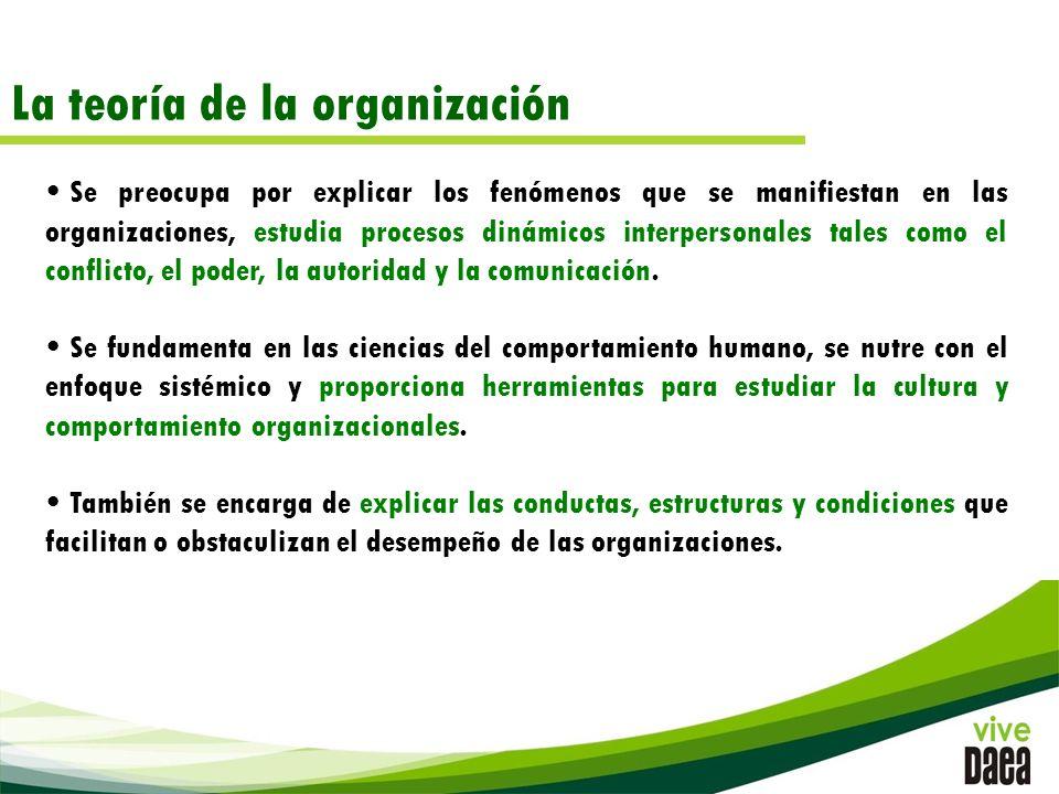 La teoría de la organización Se preocupa por explicar los fenómenos que se manifiestan en las organizaciones, estudia procesos dinámicos interpersonales tales como el conflicto, el poder, la autoridad y la comunicación.
