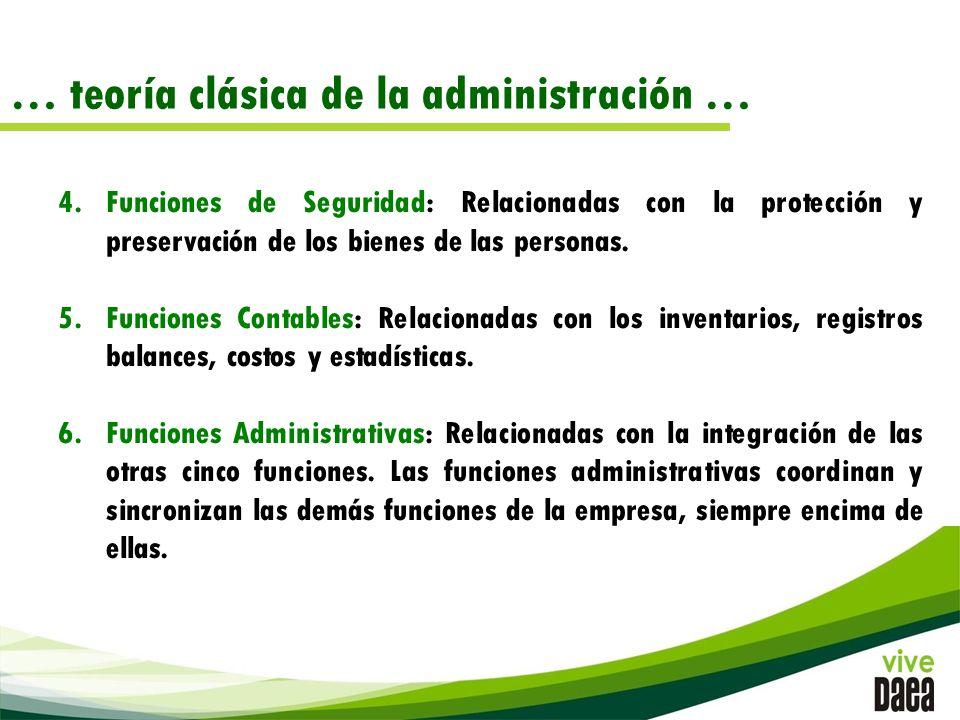 … teoría clásica de la administración … 4.Funciones de Seguridad: Relacionadas con la protección y preservación de los bienes de las personas.