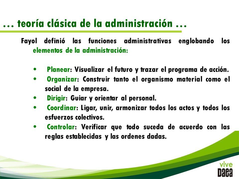 … teoría clásica de la administración … Fayol definió las funciones administrativas englobando los elementos de la administración: Planear: Visualizar el futuro y trazar el programa de acción.