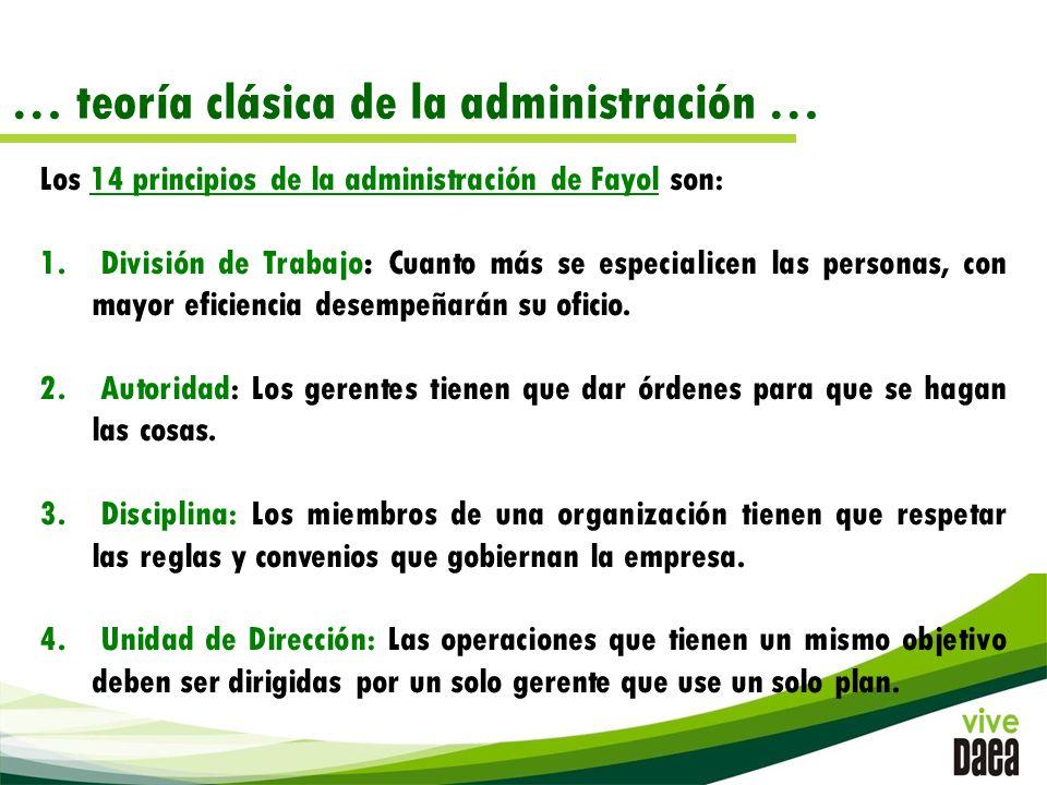 … teoría clásica de la administración … Los 14 principios de la administración de Fayol son: 1.