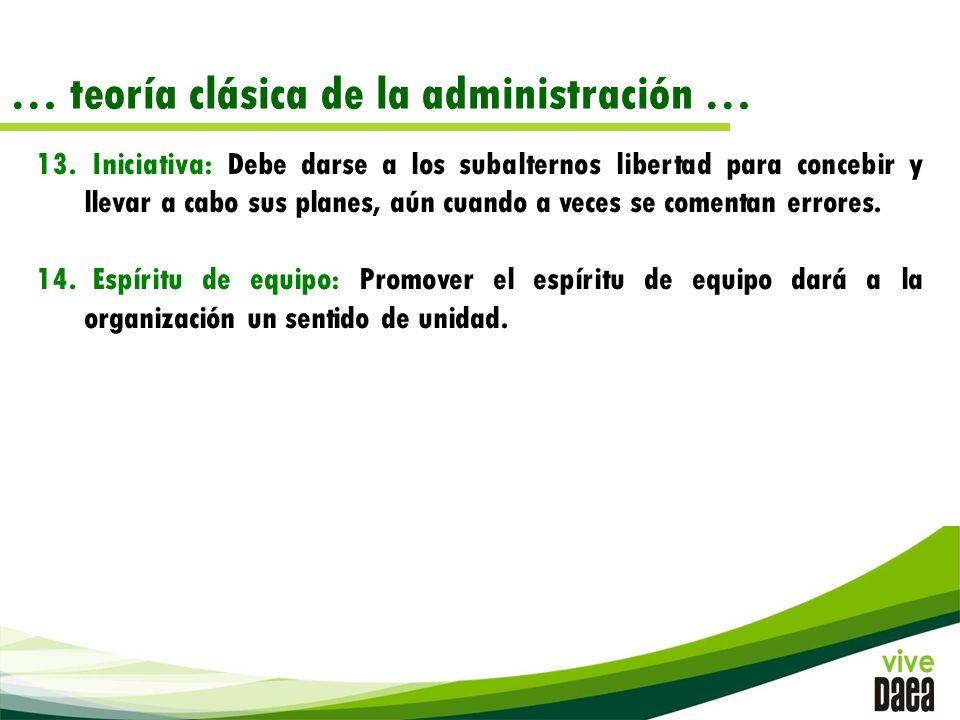 … teoría clásica de la administración … 13.