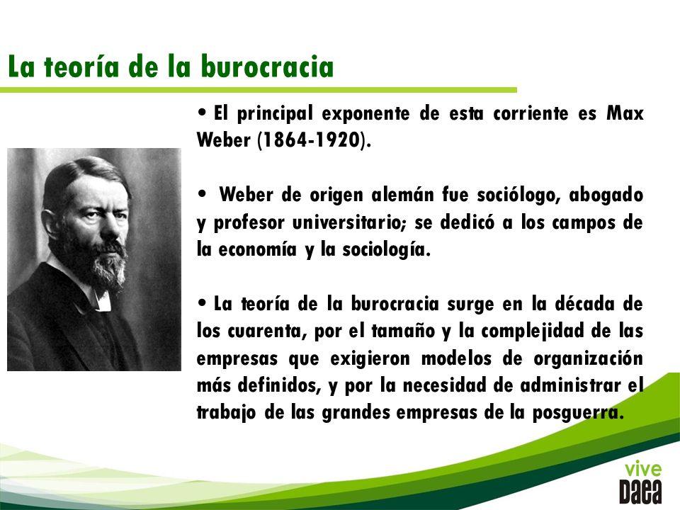 La teoría de la burocracia El principal exponente de esta corriente es Max Weber (1864-1920).