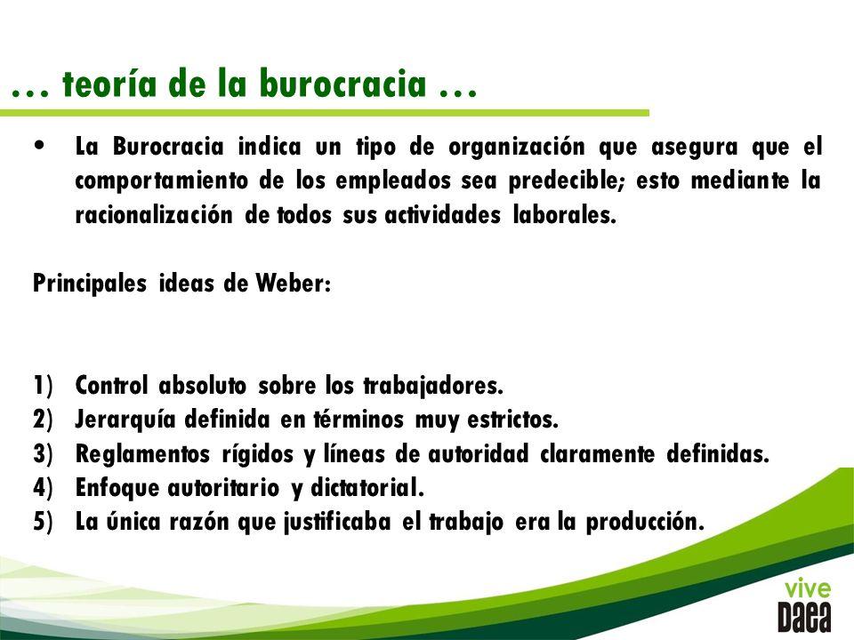 … teoría de la burocracia … La Burocracia indica un tipo de organización que asegura que el comportamiento de los empleados sea predecible; esto mediante la racionalización de todos sus actividades laborales.