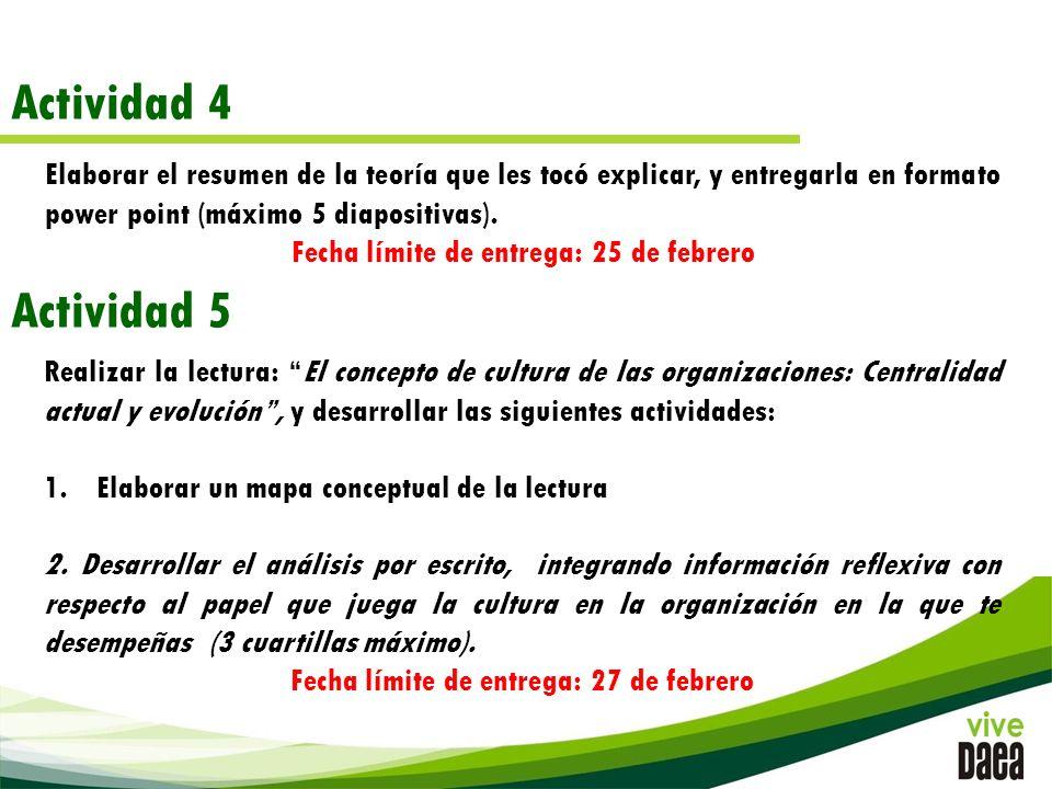 Actividad 4 Elaborar el resumen de la teoría que les tocó explicar, y entregarla en formato power point (máximo 5 diapositivas).
