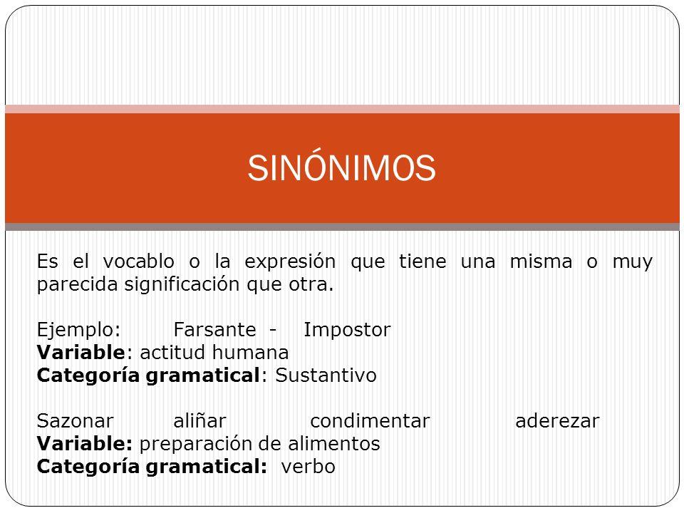 SINÓNIMOS Es el vocablo o la expresión que tiene una misma o muy parecida significación que otra.