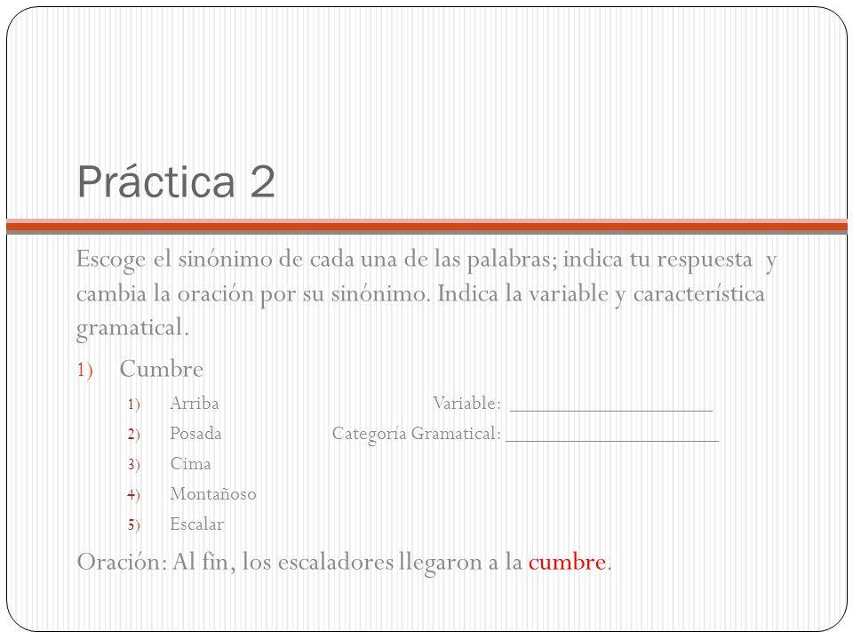 Práctica 2 Escoge el sinónimo de cada una de las palabras; indica tu respuesta y cambia la oración por su sinónimo.