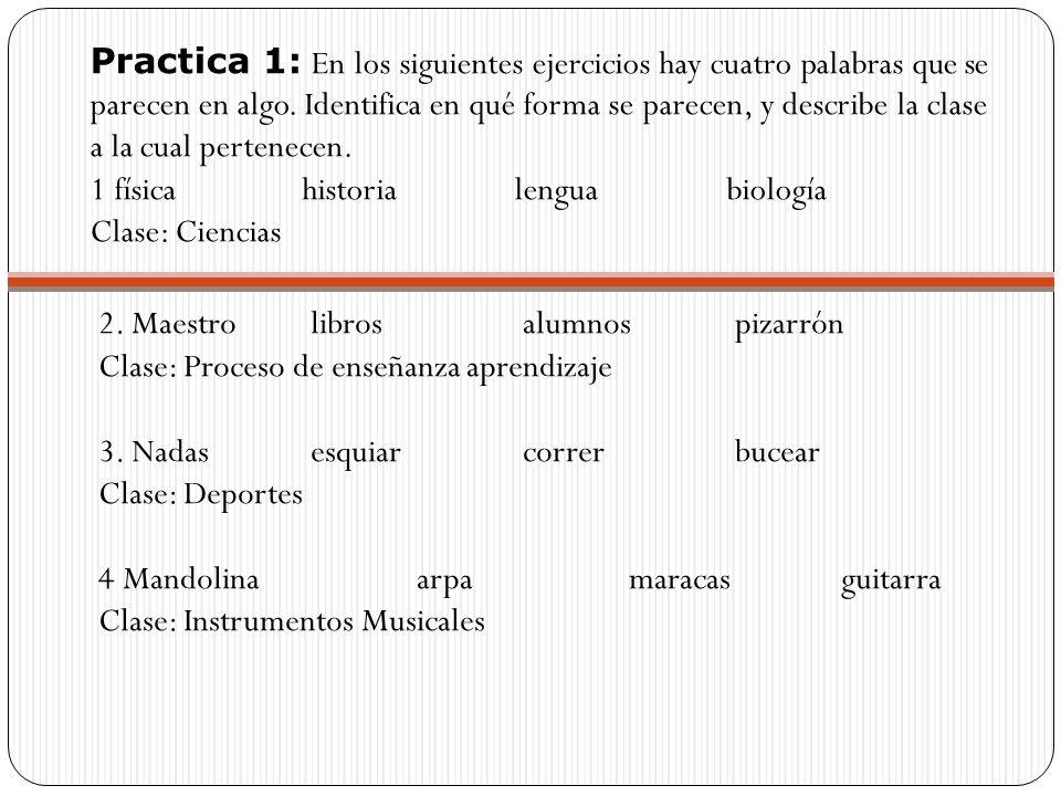 Practica 1: En los siguientes ejercicios hay cuatro palabras que se parecen en algo.
