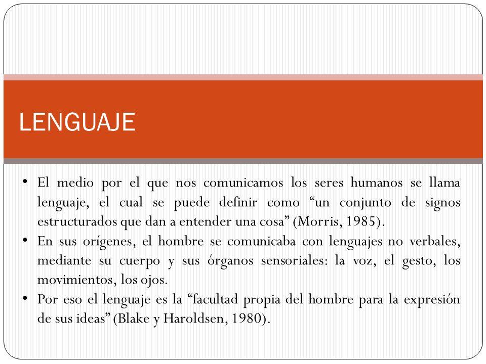 LENGUAJE El medio por el que nos comunicamos los seres humanos se llama lenguaje, el cual se puede definir como un conjunto de signos estructurados que dan a entender una cosa (Morris, 1985).