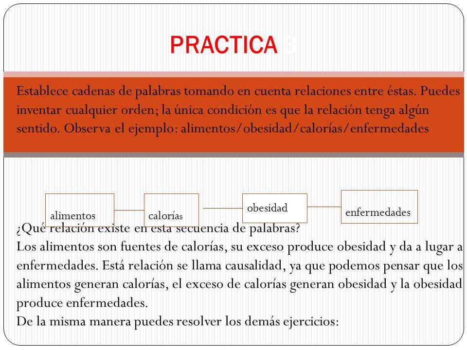 PRACTICA 3 Establece cadenas de palabras tomando en cuenta relaciones entre éstas.