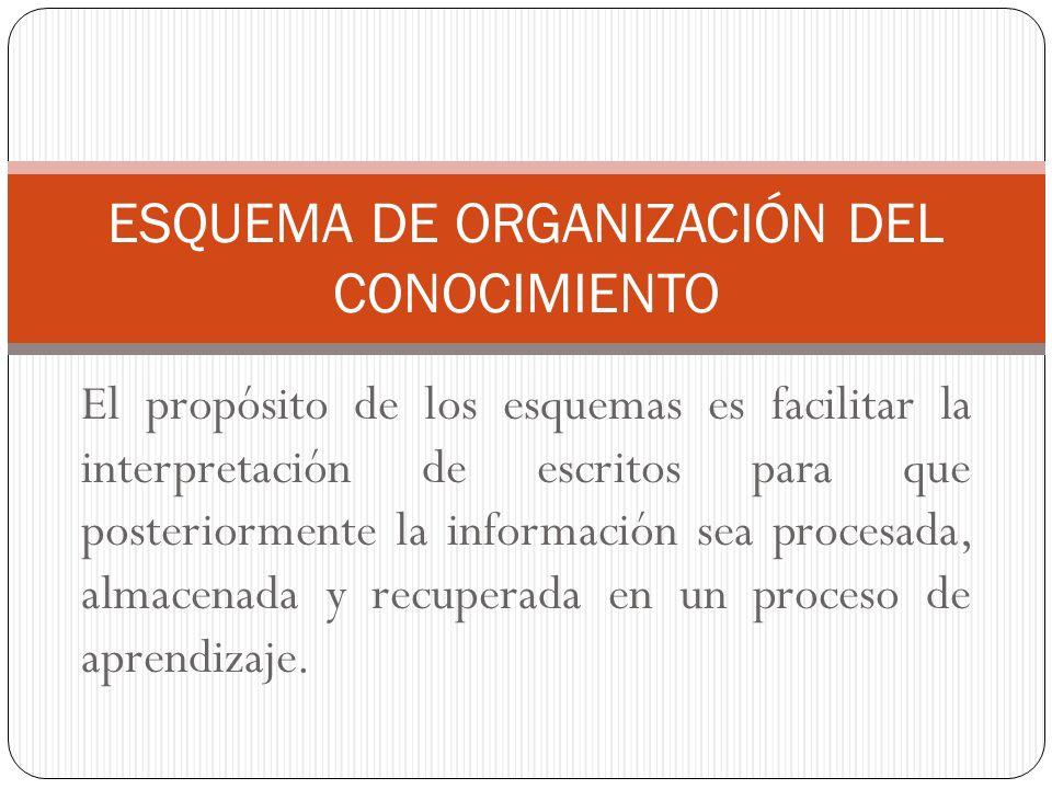 El propósito de los esquemas es facilitar la interpretación de escritos para que posteriormente la información sea procesada, almacenada y recuperada en un proceso de aprendizaje.