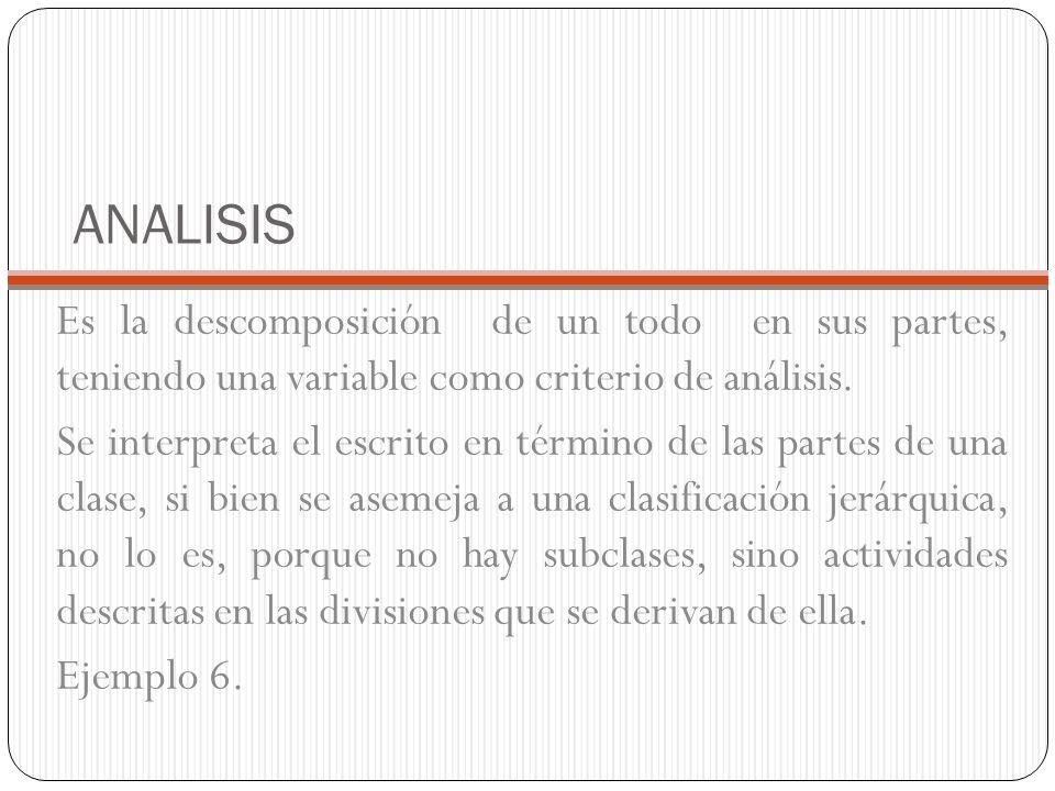 ANALISIS Es la descomposición de un todo en sus partes, teniendo una variable como criterio de análisis.