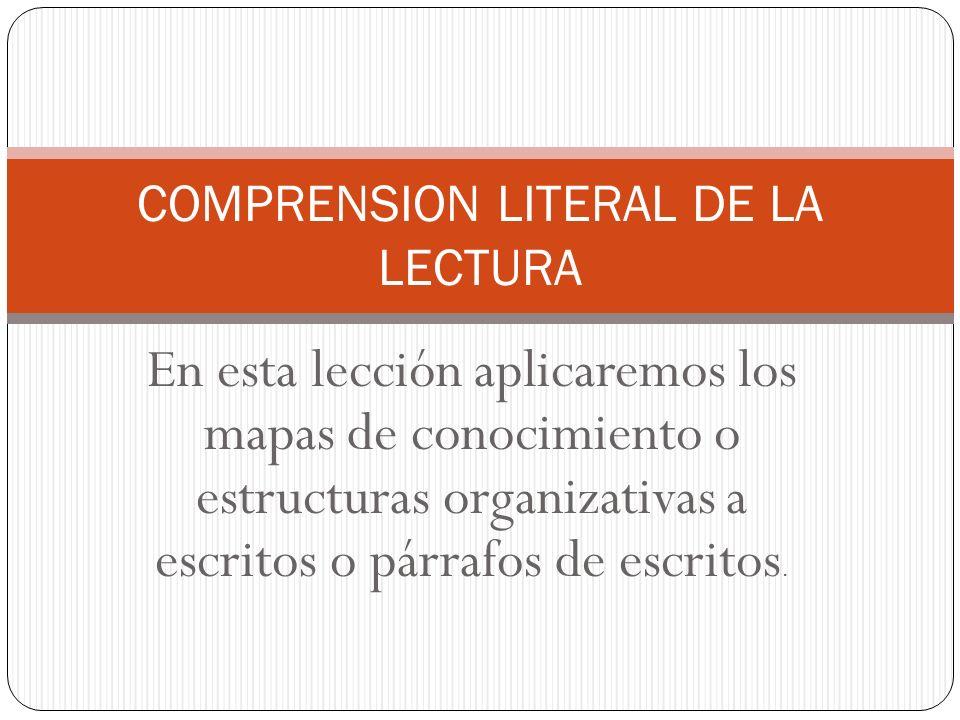 En esta lección aplicaremos los mapas de conocimiento o estructuras organizativas a escritos o párrafos de escritos.