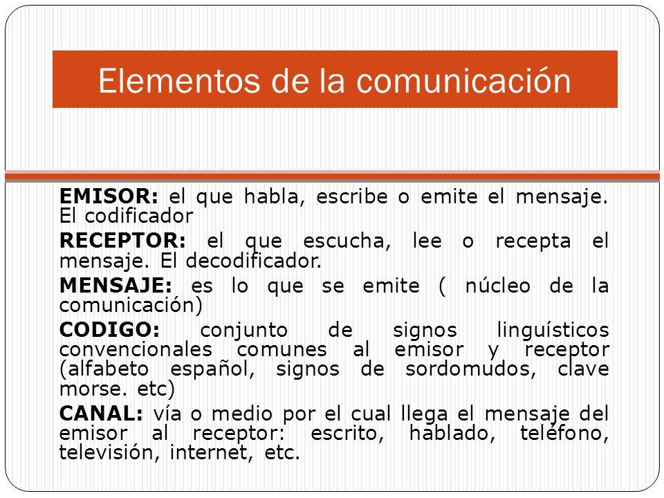 Elementos de la comunicación EMISOR: el que habla, escribe o emite el mensaje.