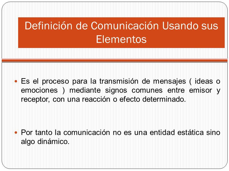Definición de Comunicación Usando sus Elementos Es el proceso para la transmisión de mensajes ( ideas o emociones ) mediante signos comunes entre emisor y receptor, con una reacción o efecto determinado.