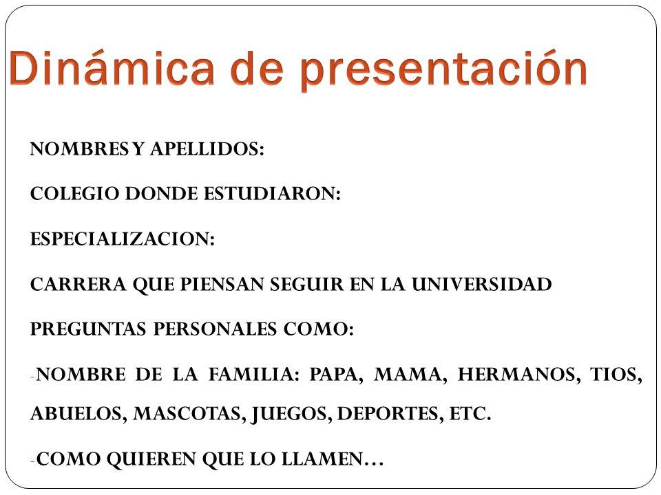 NOMBRES Y APELLIDOS: COLEGIO DONDE ESTUDIARON: ESPECIALIZACION: CARRERA QUE PIENSAN SEGUIR EN LA UNIVERSIDAD PREGUNTAS PERSONALES COMO: - NOMBRE DE LA FAMILIA: PAPA, MAMA, HERMANOS, TIOS, ABUELOS, MASCOTAS, JUEGOS, DEPORTES, ETC.