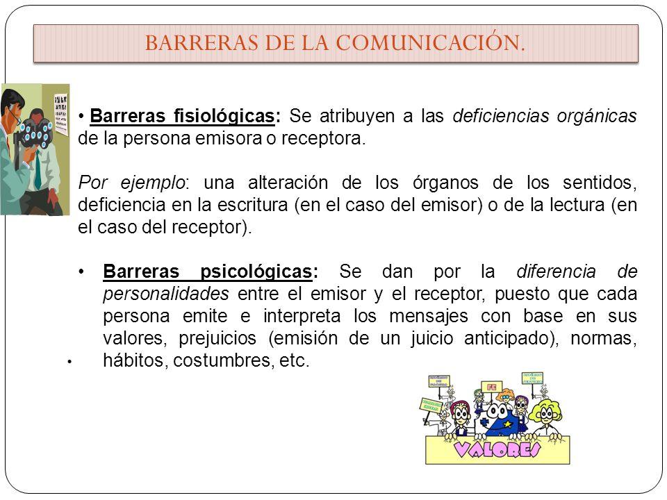 Barreras fisiológicas: Se atribuyen a las deficiencias orgánicas de la persona emisora o receptora.