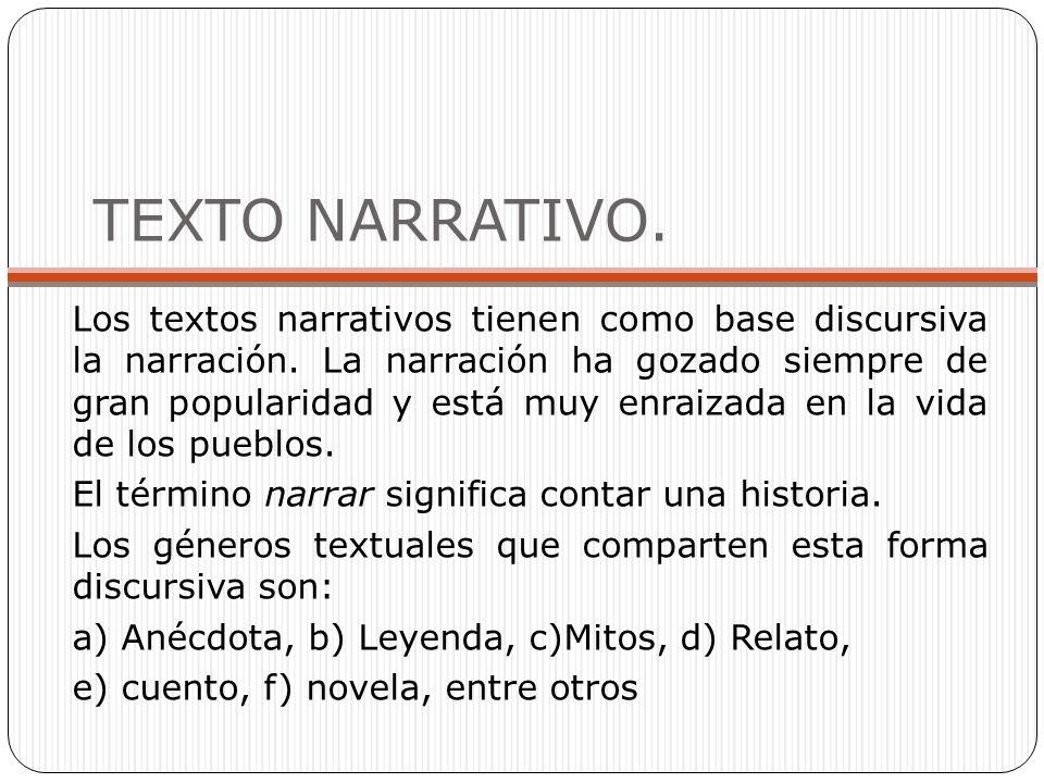 TEXTO NARRATIVO.Los textos narrativos tienen como base discursiva la narración.