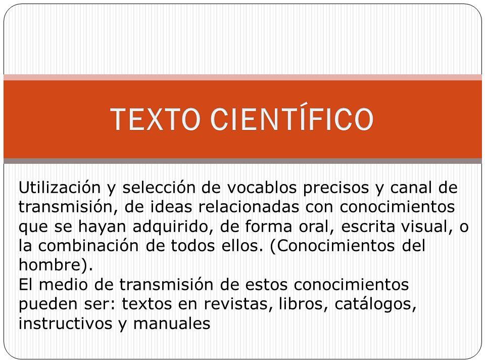 Utilización y selección de vocablos precisos y canal de transmisión, de ideas relacionadas con conocimientos que se hayan adquirido, de forma oral, escrita visual, o la combinación de todos ellos.