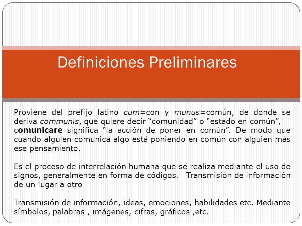 Definiciones Preliminares Proviene del prefijo latino cum=con y munus=común, de donde se deriva communis, que quiere decir comunidad o estado en común, comunicare significa la acción de poner en común.