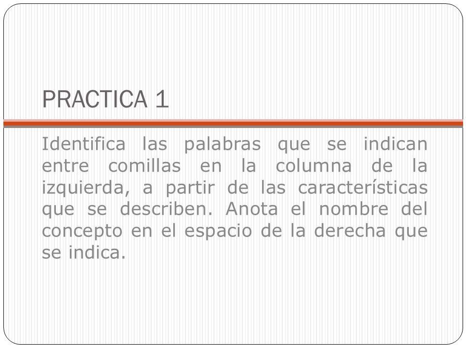 PRACTICA 1 Identifica las palabras que se indican entre comillas en la columna de la izquierda, a partir de las características que se describen.