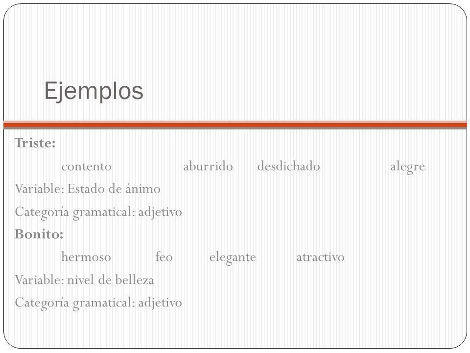 Ejemplos Triste: contento aburrido desdichado alegre Variable: Estado de ánimo Categoría gramatical: adjetivo Bonito: hermosofeo eleganteatractivo Variable: nivel de belleza Categoría gramatical: adjetivo