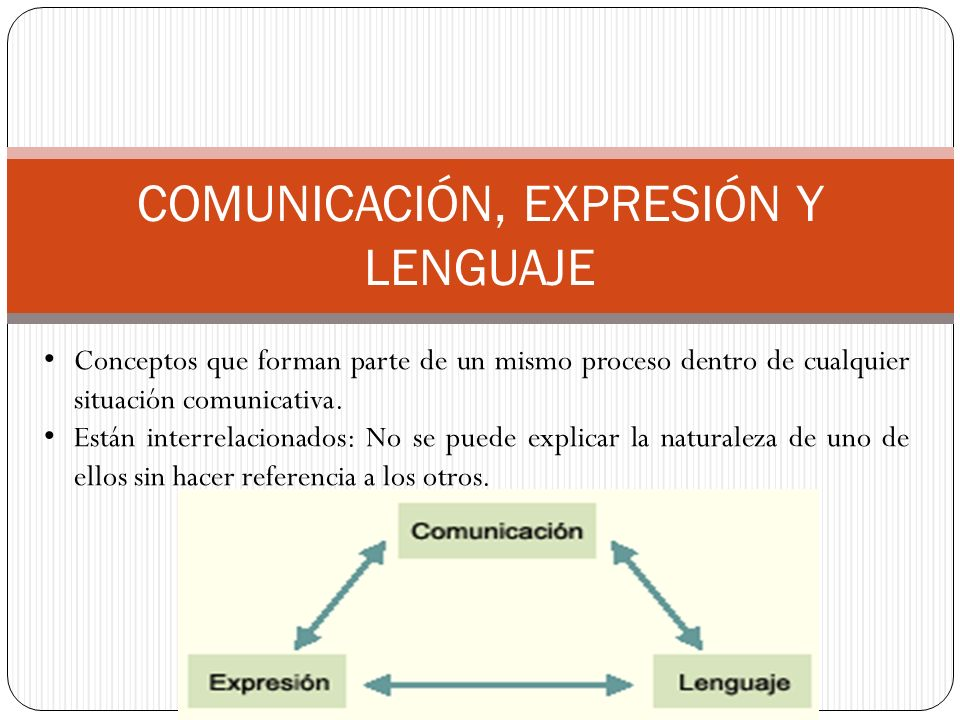 COMUNICACIÓN, EXPRESIÓN Y LENGUAJE Conceptos que forman parte de un mismo proceso dentro de cualquier situación comunicativa.