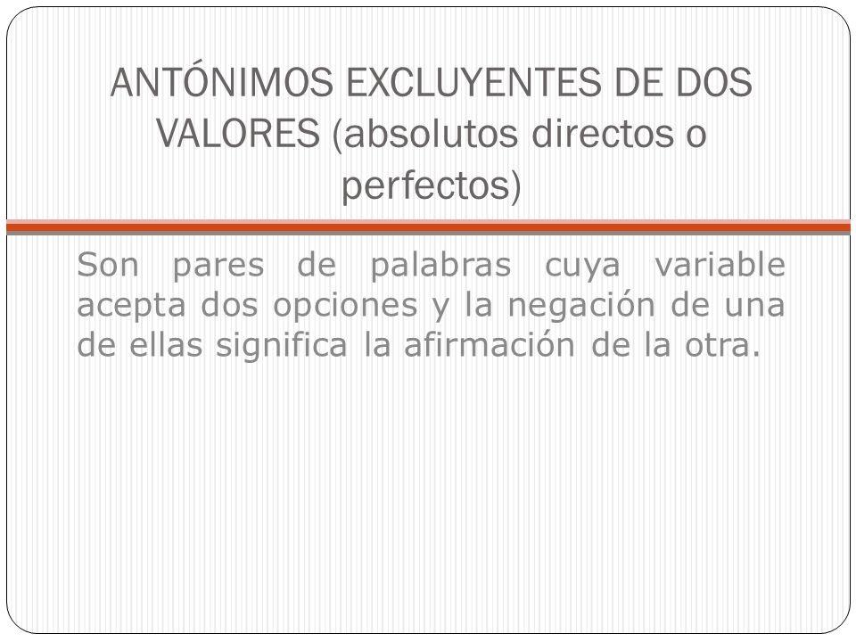 ANTÓNIMOS EXCLUYENTES DE DOS VALORES (absolutos directos o perfectos) Son pares de palabras cuya variable acepta dos opciones y la negación de una de ellas significa la afirmación de la otra.