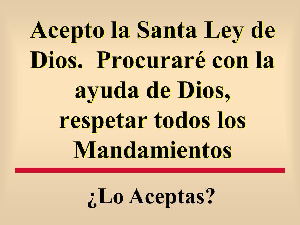 Acepto la Santa Ley de Dios. Procuraré con la ayuda de Dios, respetar todos los Mandamientos ¿Lo Aceptas?