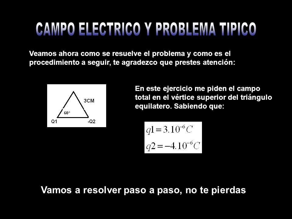 Veamos ahora como se resuelve el problema y como es el procedimiento a seguir, te agradezco que prestes atención: En este ejercicio me piden el campo total en el vértice superior del triángulo equilatero.