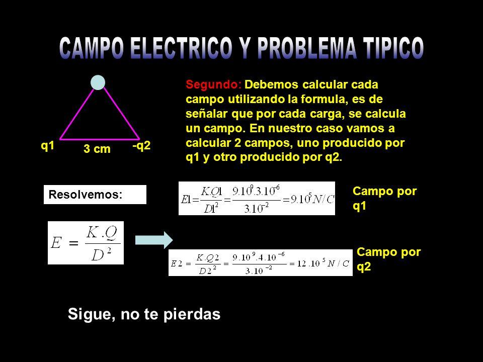 Segundo: Debemos calcular cada campo utilizando la formula, es de señalar que por cada carga, se calcula un campo.