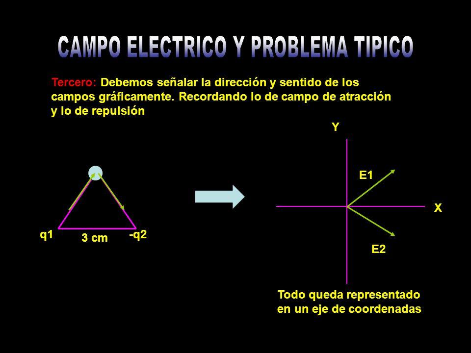 Tercero: Debemos señalar la dirección y sentido de los campos gráficamente.