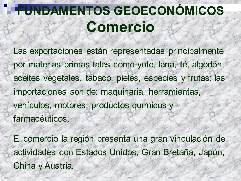 FUNDAMENTOS GEOECONÓMICOS Comercio Las exportaciones están representadas principalmente por materias primas tales como yute, lana, té, algodón, aceite